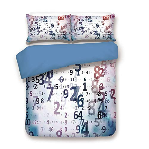 Duvet Cover Set Full Size, Decorative 3 Piece Bedding Set with 2 Pillow Shams,Digital Code Numbers Computer Database Science Information Technology Themed Art