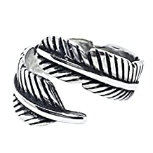Sterling Silver Feather Ring for Women Retro Open Finger Ring Knuckle Ring Toe Rings Beach Jewelry Resizable