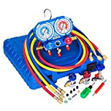 """Manifold Gauge Set for R134A, R12 Refrigerant, Brass Auto Service Set with 5 ft Hoses, 1/4"""" Fittings, Quick Connector Couplers and Can Tap, for Car Use, Updated"""