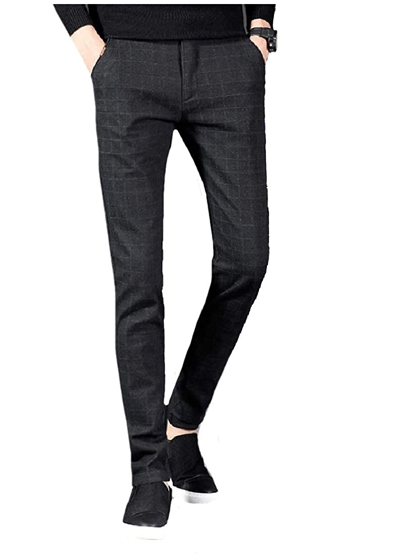 Andopa Men Hidden Expandable-Waist Slim Casual Plaid Business Work Pants