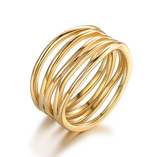 Barzel Gold Plated Statement Ring (6) (Gold, 6)