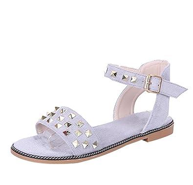 CHENYANG Sandalen Damen Sommer Mode Sandalen Damen Flach Sandalen Schuhe Flip Flops Nieten Strandschuhe