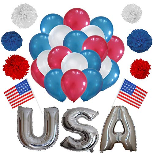 (4th Of July Decoration set for America Independence Day 60 Balloon 6 Pom Poms USA Letter Balloons 2 American hand Flags Patriotic National Day Blue Red and White)