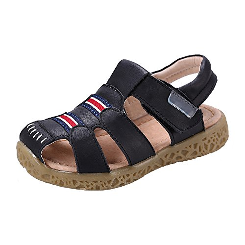 GAXmi Kids Toddler Closed Toe Leather Sandals Shoes for Boys Girls Baby Black/Toddler 8.5 M
