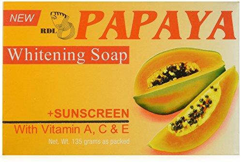 Original RDL Papaya Skin Whitening Soap plus Sunscreen w/ Vitamin A, C & E - 135 grams