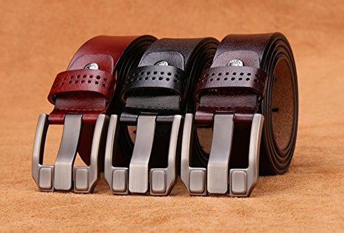BISON DENIM Classic Belts For Men - Mens Genuine Leather Belt for Dress & Jeans Brown 125cm by BISON DENIM (Image #3)
