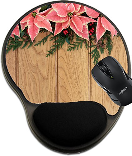 MSD Natural Rubber Mousepad Wrist Protected Mouse Pads/Mat with Wrist Support Design: 30645473 Pink Poinsettia Flower Background Border with Holly and Christmas Greenery Over Oak Wood