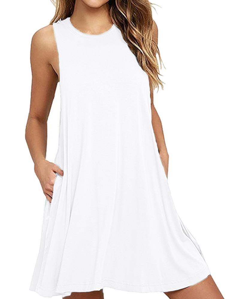Plain Solid Color Tunic Dresses for Women Scoopneck Fashion 2018 Casual Loose Beach Dress Size D