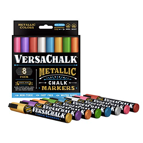 Metallic Liquid Chalk Marker Pens by VersaChalk (6mm Bold Chisel + Bullet Tip) – 8 Metallic Colors | Dust Free, Water-Based, Non-Toxic by VersaChalk (Image #1)