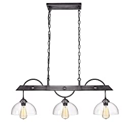 Anmytek Metal Chandelier with Clear Glass Shade and Pendant Three Lights Decorative Lighting Fixture Ceiling Lamp