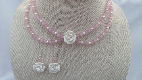 - Two Strand Pendant 15 Inch Choker Earrings Ceramic White Iris Flower Glass Sterling