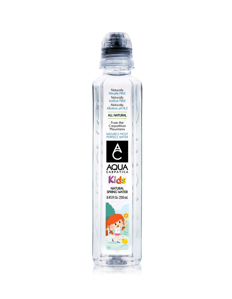 AQUA Carpatica Natural Spring Water for Kids, Babies and Infants, Naturally Filtered Drinking Water (250 ml / 8.45 oz.) 24 Pack