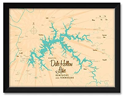 Northwest Art Mall Dale Hollow Lake, Kentucky & Tennessee Map Framed Art Print by Lakebound