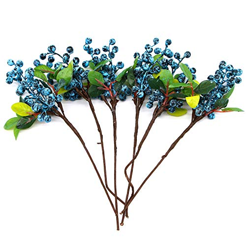 (AQUEENLY Fake Berry Stem Artificial Blueberry Fake Flower for Home Party Wedding Decoration, 6 Pcs)