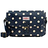 Cath Kidston Oilcloth Small Saddle Bag Crossbody 16SS Polka Button Spot Pattern Navy Colour For Sale