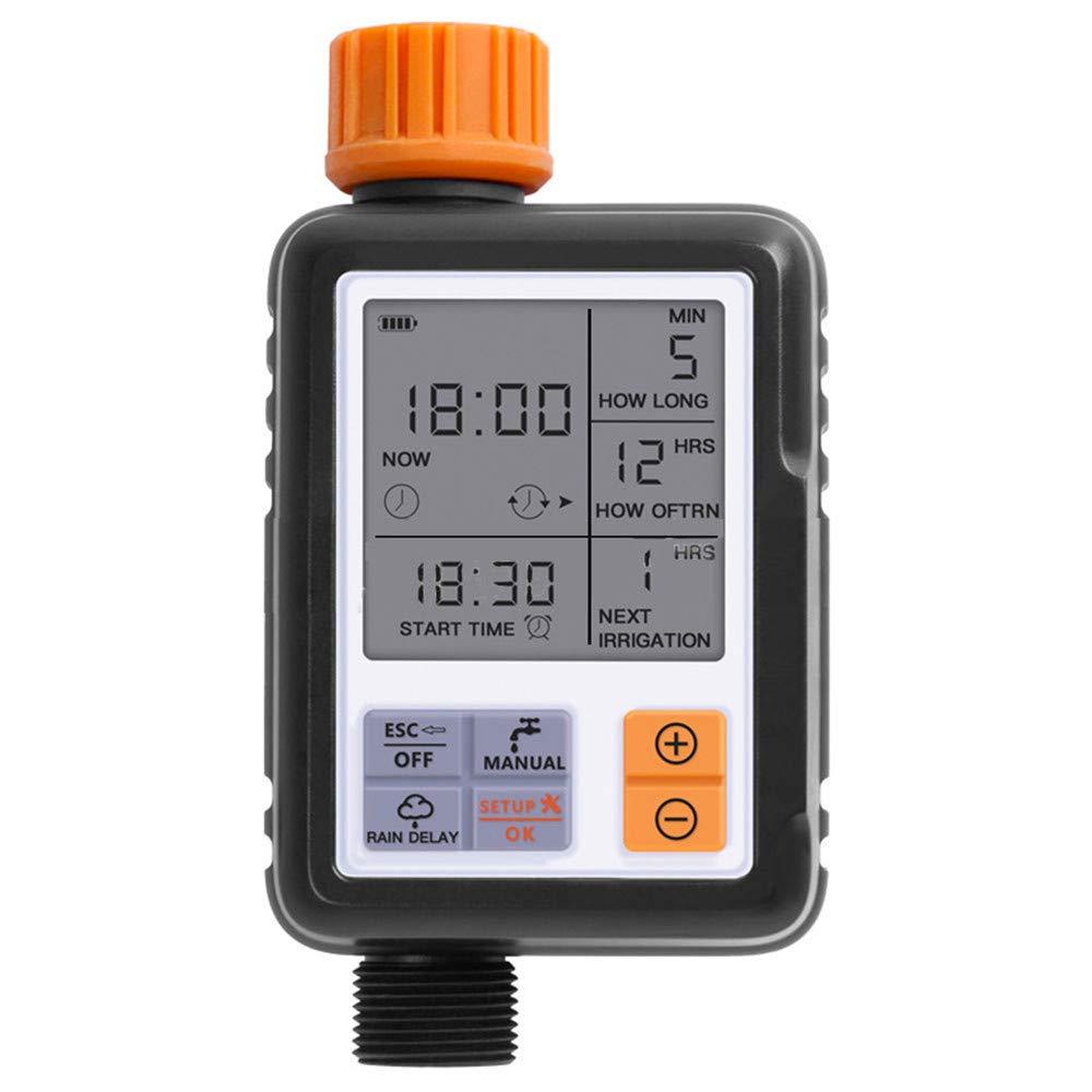 GXFC Regolatore di irrigazione Schermo LCD Universale, Strumento di irrigazione Dispositivo di irrigazione Automatico Giardino Esterno (Arancione)