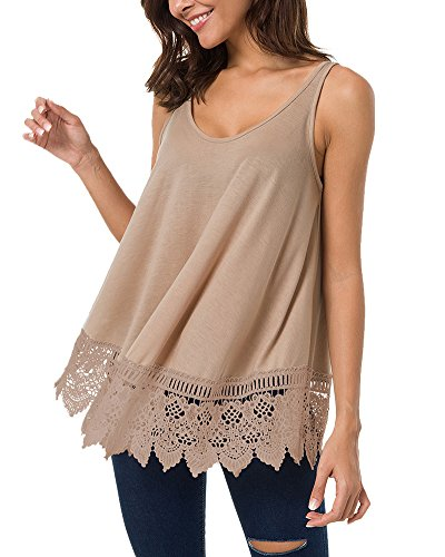 LEANI Women's Summer Sleeveless Scoop Neck Tunic Top Lace Patchwork Casual A-Line Tank T-Shirt Khaki