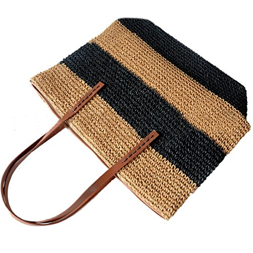 Large Beach Bag Women Black Totes Striped Summer Woven Bag Shoulder Straw for 4AqvY