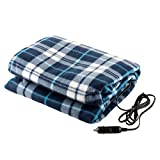 Lazer Volt LV12VHB 12V Electric Heated fleece blanket ''59x45'' blue plaid Use for camping/travel Car, Truck, RV Vehicle, or when power outage can be used with the PWRBOX model# LVSH318