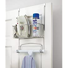 mDesign Ironing Board Holder with Storage Basket for Clothing Iron - Over Door/Wall-Mount, Chrome