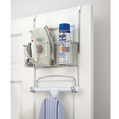 mDesign Ironing Board Holder with Storage Basket for Clothing Iron - Over Door/Fold up-Mount, Chrome