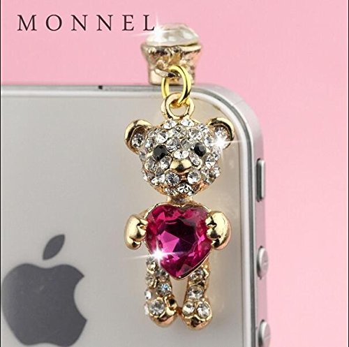 ip674F New Arrival Crystal Pink Heart Bear Cell Phone Charm Dust Proof Plug (New Arrivals Heart)