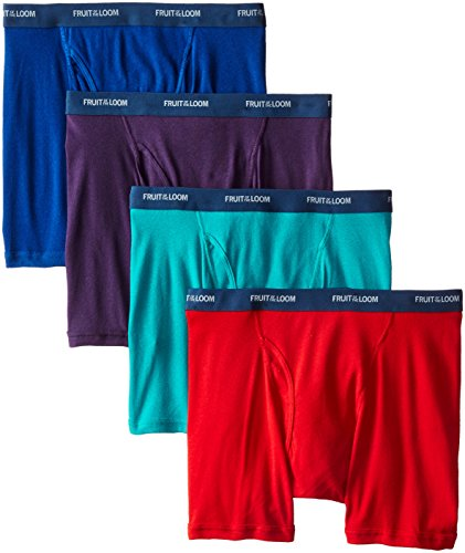 Short Rise Low Boxer Mens (Fruit of the Loom Men's 4-Pack Low Rise Extra Leg Boxer Brief, Assorted, Large)