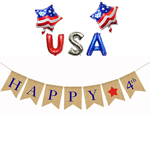 Happy 4th Banner America Independence Day Banner Memorial Day Veterans Day+ USA Letter Ballon + 2 USA Flag Mylar Balloon ()
