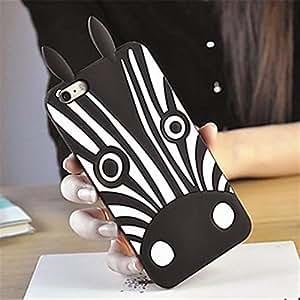 NightKid Linda silicona Zebra funda (iPhone 4/4S iPhone 6S Plus iPhone 6S iPhone 6 Plus iPhone 6 iPhone 5C iPhone 5/5S )(iPhone 5C,Negro)