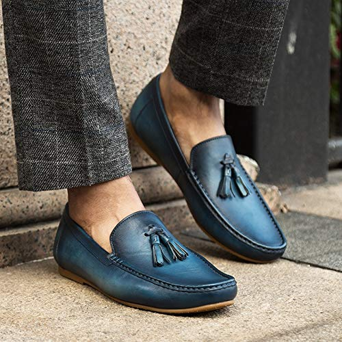 scarpe estate nappa Blue EU Size da nappa XZP guida in Mocassini scarpe slip pelle casual 42 pelle morbida per uomo mocassini Brown primavera vera Color comode in wFtgxTI4q
