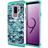 FINCIBO Case Compatible with Samsung Galaxy S9 Plus (6.2 inch) Hybrid, Dual Layer Hybrid Hard Back Protective Cover Anti Shock TPU Silicone Spot Rhinestone, Mermaid Scales Blue Wave/Teal