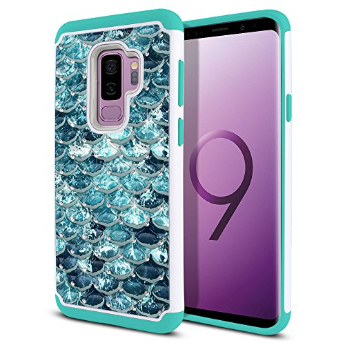 FINCIBO Case Compatible with Samsung Galaxy S9 Plus 6.2 inch Hybrid, Dual Layer Hybrid Hard Back Protective Cover TPU Rhinestone Bling for Galaxy S9 Plus (NOT FIT S9), Mermaid Scales Blue Wave/Teal