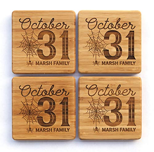 Personalized Halloween Decorations Kitchen Dining Wood Coasters - Unique Table Holiday Decor (Set of 12, Halloween Oct 31 -
