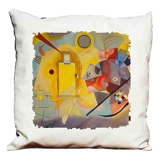 Kandinsky - Cojín, color amarillo, rojo y azul: Amazon.es: Hogar