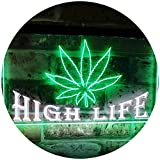 AdvpPro 2C Marijuana Hemp Leaf High Life Dual Color LED Neon Sign White & Green 12'' x 8.5'' st6s32-0403-wg