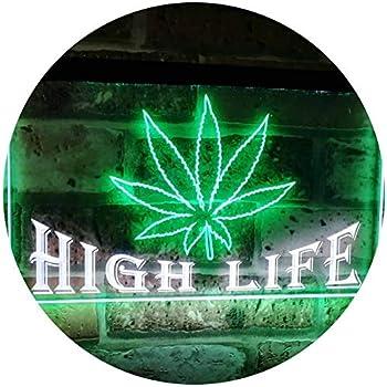 Amazoncom Advpro Marijuana Hemp Leaf High Life Dual Color Led Neon