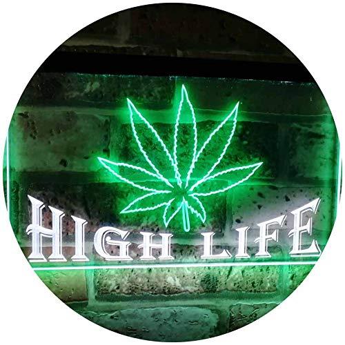 ADVPRO Marijuana Hemp Leaf High Life Dual Color LED Neon Sign White & Green 12