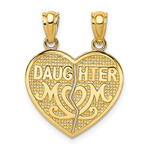 14k Yellow Gold Daughter Mom Break Apart Heart Pendant Charm Necklace Special Person Break?apart Fine Jewelry Gifts For Women For Her