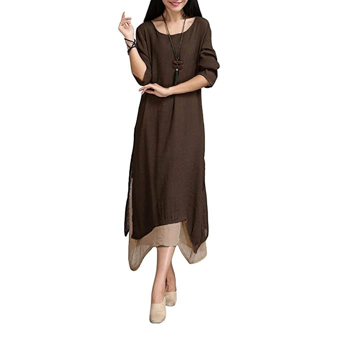 f3861e8497f Romacci Women s Casual Vintage Long Sleeve Loose Cotton Linen Boho ...