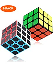 2 Pack Rubix Cube Speed Cube 3x3, 3D Puzzle Game, with Carbon Fiber Sticker, Smooth Speed Twist with Original Magic Cube Color, Upgraded Version, 5.7cm