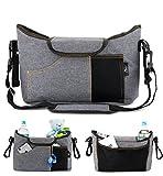 OLIVIA & AIDEN Stroller Organizer Set - Universal Fit Durable Multi Pocket Stoller Bag, Padded Shoulder Strap, Stroller Safety Belt Wrist Strap, 2 Stroller Bag Hooks – Carriage Accessories Set