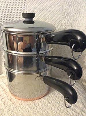 Revere Ware SS Copper Bottom 3qt/ double boiler/steamer & lid