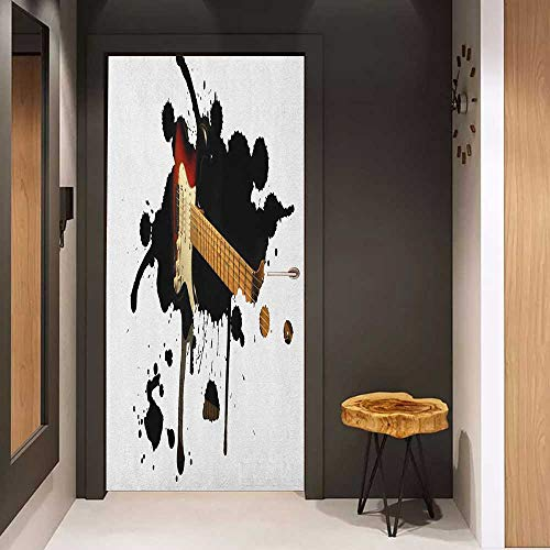 Door Sticker Popstar Party Electric Guitar Fretboard on Black Grungy Color Splashes Art Glass Film for Home Office W36 x H79 Black Pale Brown Cream