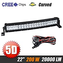 Racbox 5D 22'' LED Curved Light Bar 12V 24V 20000Lm Off Road Work Light Driving Lamp for SUV Jeep Boat
