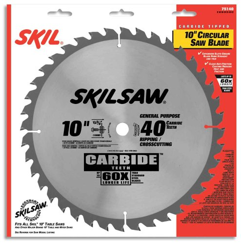 SKIL 75140 10-Inch 40 Tooth ATB General  - General Purpose Table Saw Blade Shopping Results