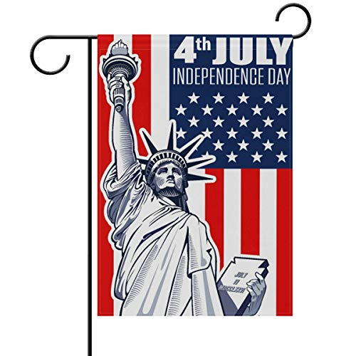 - Yochoice ALAZA 4th of July and Statue Liberty Polyester Garden Flag House Banner 28 x 40 inch, Two Sided Welcome Yard Decoration Flag for Wedding Party Home Decor