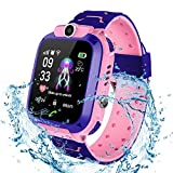 Kids Waterproof Smartwatch, Childrens Smartwatch LBS Tracker SOS Call Anti-lost Finder Remote Monitor SIM Card Touch Screen Camera Flashlight for Birthday (Pink)