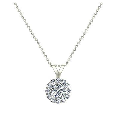Amazon halo diamond necklace round brilliant earth mined 14k halo diamond necklace round brilliant earth mined 14k white gold pendant aloadofball Gallery