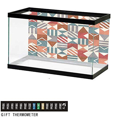 (bybyhome Fish Tank Backdrop Abstract,Retro Mosaic Tiles Lines,Aquarium Background,36