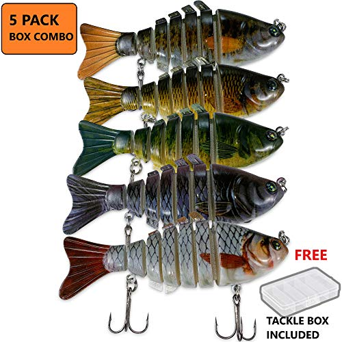 Bass Fishing Lures Hard Swimbaits Pro Fish Baits Tackle Box 5 Pcs Combo Set 10cm 7 Segments Multi Jointed Slow Sink - Crankbait, Glide Bait, Spinbait, Bass Swim Bait 5 pcs With Tackle Box Combo
